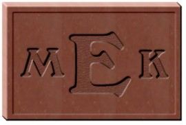 2 X 3 X 3/8 Monogrammed Chocolate Mold